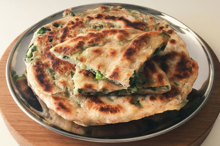 Buttery Radish and Scallion Pancake