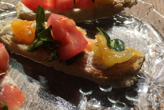 Tomato Bruschetta (on Hot Buttered Rye Toast)