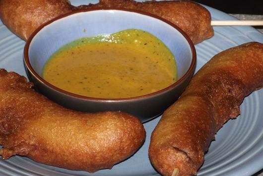 Corn Smokies with Cackalacky Dipping Sauce