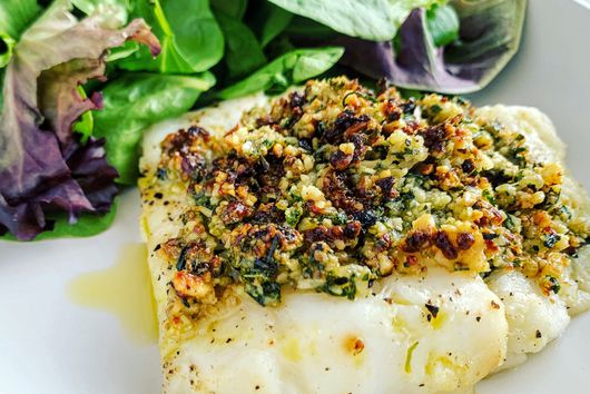 Walnut & Herb Cod au Gratin (Gluten-free/No Breadcrumbs)