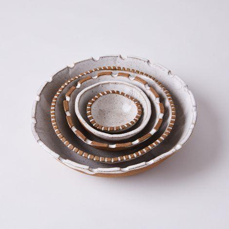Handmade Ceramic Carved Rim Nesting Bowls (Set of 5)