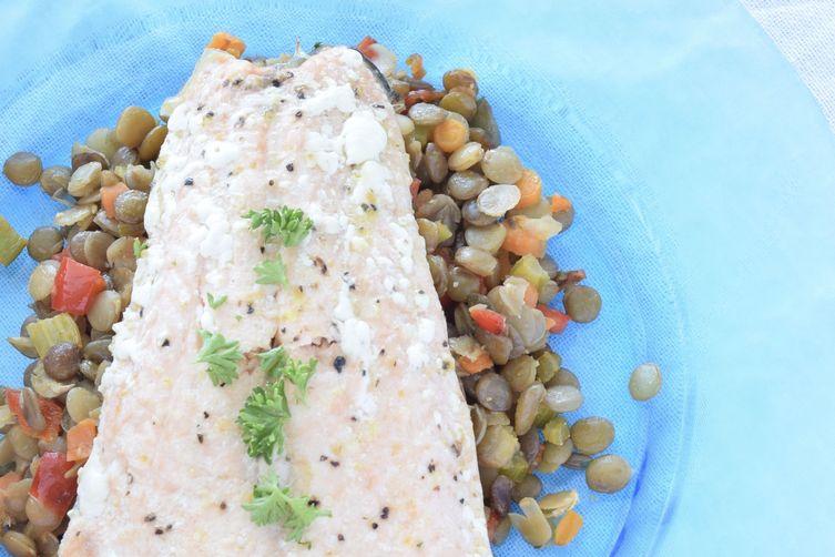 Baked Salmon over Lentil Vegetable Medley