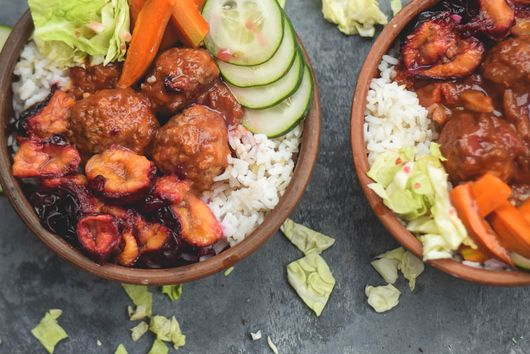 Roasted Plum BBQ Chicken Meatball Bowls