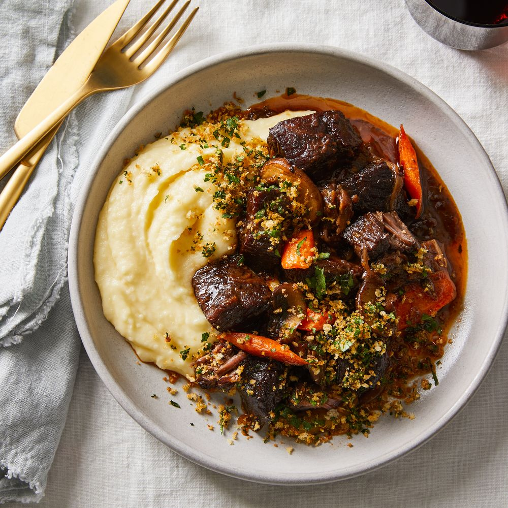 Beef Short Rib Bourguignon With Garlicky Panko Gremolata