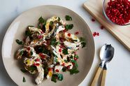 Roasted Delicata Squash with Spicy Yogurt Dressing and Pomegranate