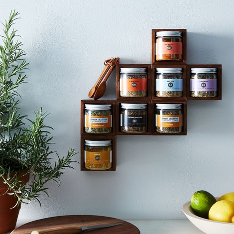 Modular Magnetic Walnut Spice Rack with Spices