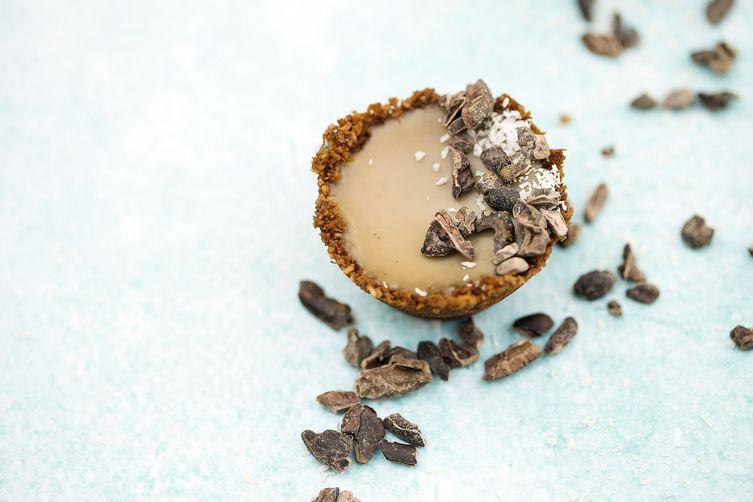 Mini Caramel Tarts with coconut cacao bases