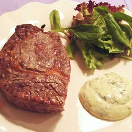 Marinated grilled Fillet Steaks with Garlic and Basil Mayonnaise