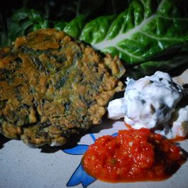 Chard Fritters with Spicy Red Pepper Relish