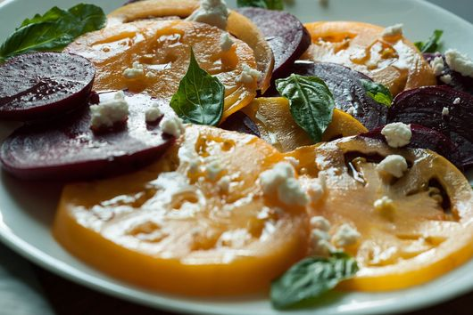 Roasted Beet and Yellow Tomato Salad with Goat Ricotta and Basil