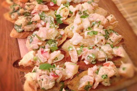 Prawn and Coriander Crostini
