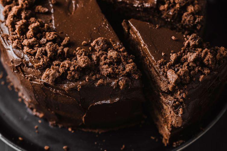 vegan chocolate layer cake with orange curd