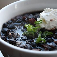 Black beans with sausage and bacon