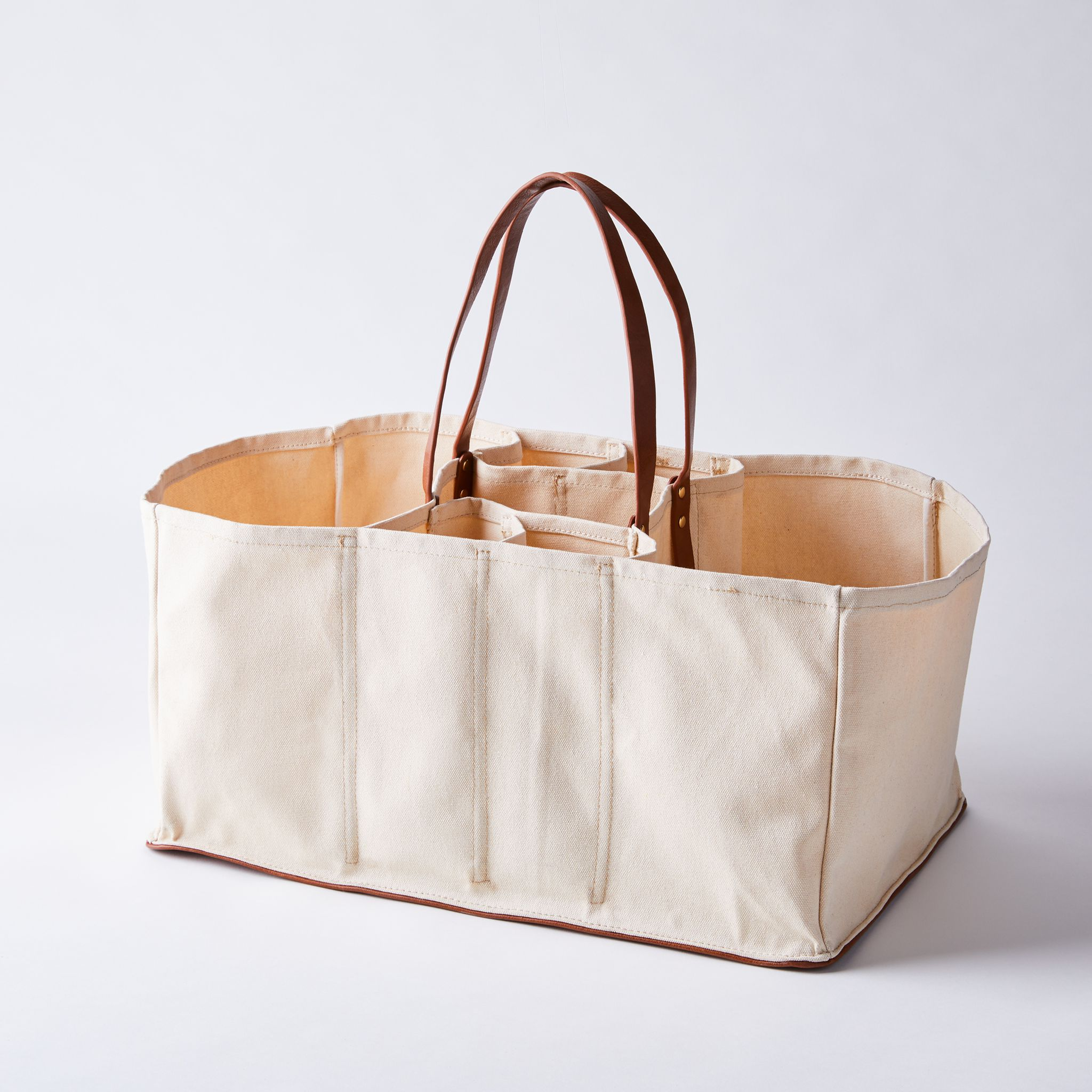 Multi-Pocket Canvas Grocery Tote