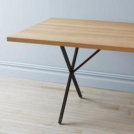 Solid White Oak & Rusted Steel Farm Table & Bench