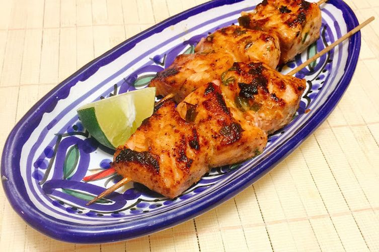 Spicy Chili Lime Salmon Skewers