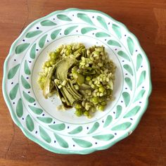 Springtime Barley Pilaf with Spring Peas, Asparagus, and Artichokes with a Mint Pesto