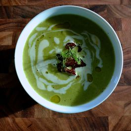 Pea Soup with Meyer Lemon Cream and Fried Shallots