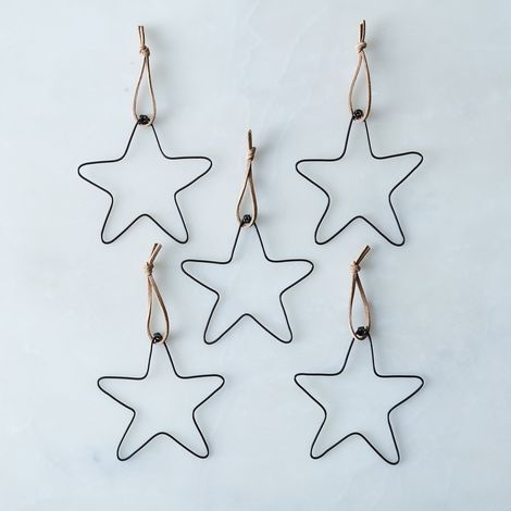 Wire Star Ornaments (Set of 5)
