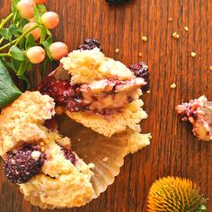 Blackberry + Bee Pollen Muffins with Blackberry Butter