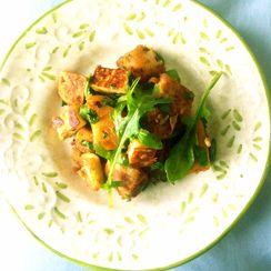 Spiced Lemon Potatoes with Paneer and Arugula