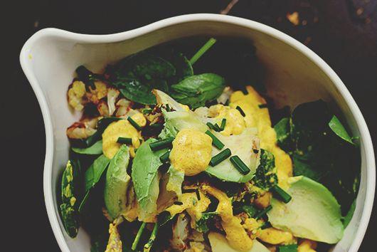 Roast Cauliflower + Avocado Salad with Spiced Yoghurt