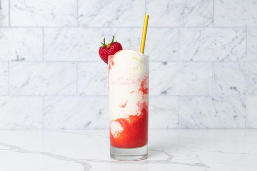 Pooja Bavishi's Sweet Corn Saffron Ice Cream Float with Strawberry Rose Syrup