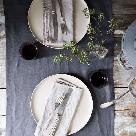 Grey Linen Table Runner with Center Stitch