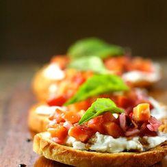 Burrata and Peach Chutney Crostini