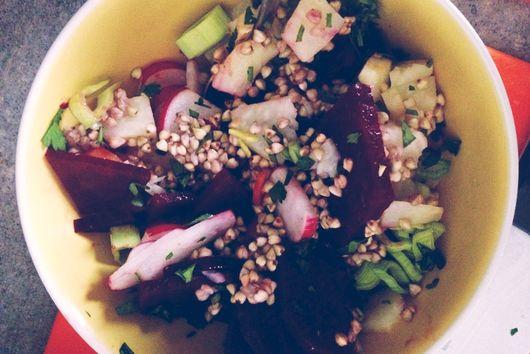 Warm winter salad with root veggies and buckwheat, dressed with greek yogurt