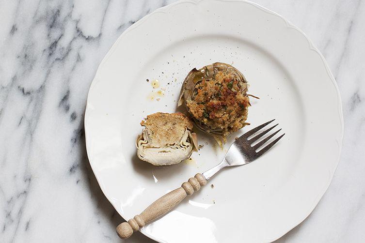 Artichokes Stuffed with Capers & Anchovies (Carciofi Ripieni alla Siciliana)