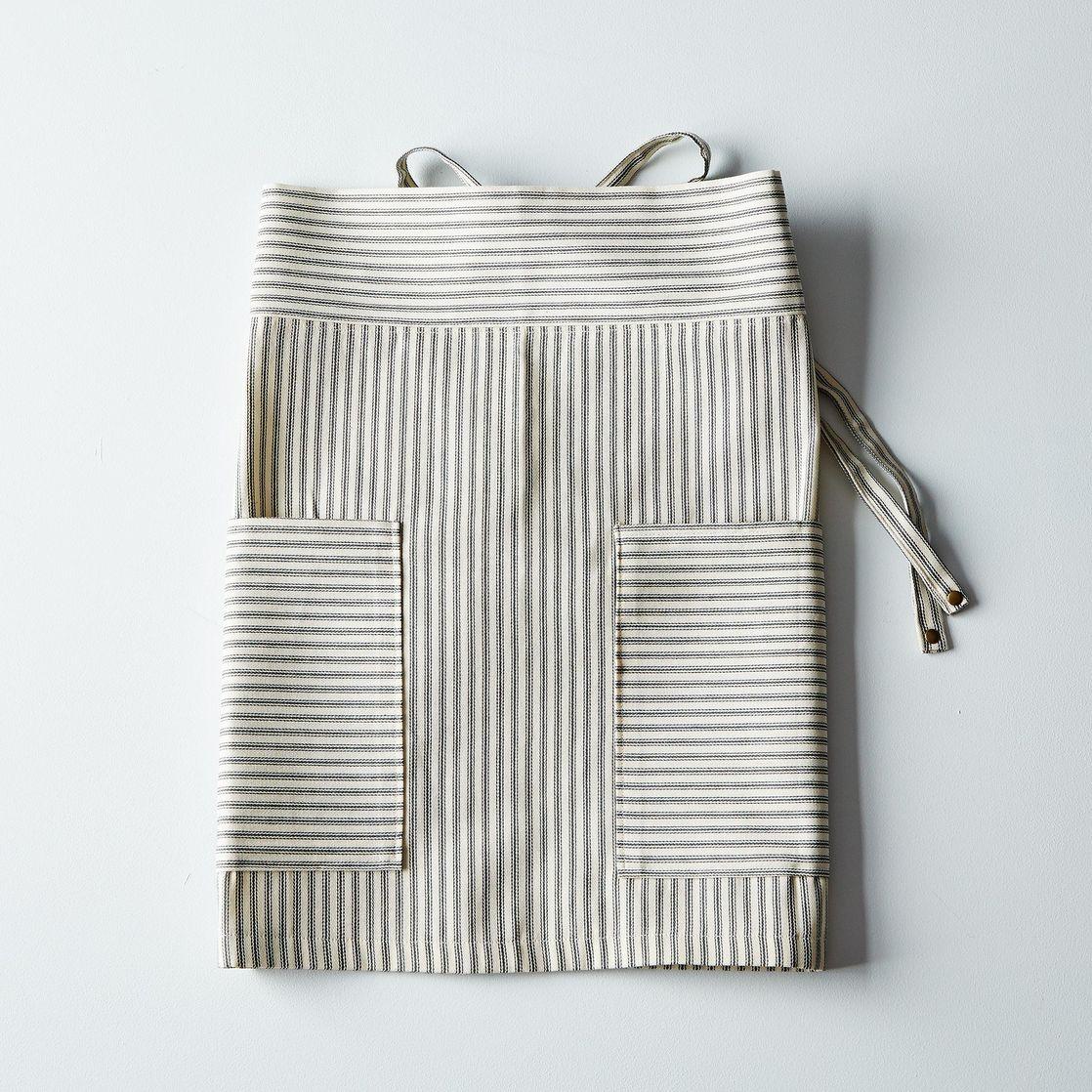 White half apron - Green Ticking Half Apron
