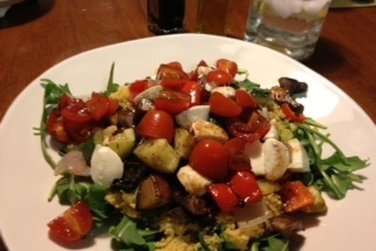 Roasted Vegetable Couscous with Marinated Tomatoes