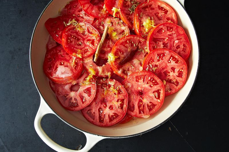 The makings of Amanda Hesser's Roasted Tomato Jam.