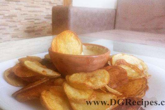 Homemade Potato Chips with French Garlic DIp