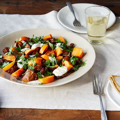 Roasted Sweet Potatoes with Merguez, Persimmon, and Za'atar Yogurt