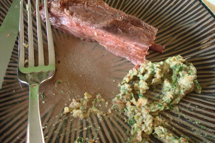Grilled Flank Steak with Charred Green Onion Pesto