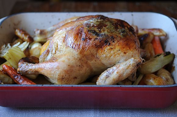 Lemon and Onion Roasted Chicken by Bevi