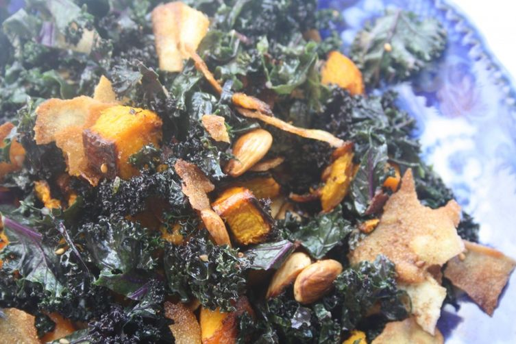 Purple Kale, Roast Pumpkin and Dukkah Almond Salad