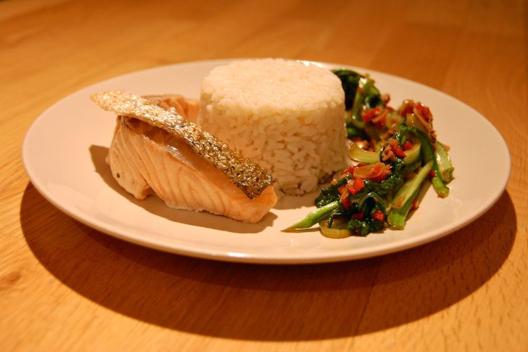 Green Tea Steamed Salmon with Crispy Sesame Skin, Coconut Rice and Choi Sum