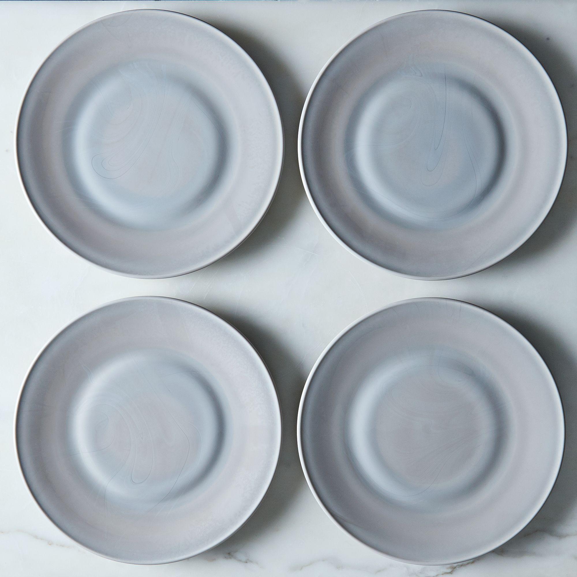 Grey Swirl Glass Dinner & Cake Plates (set Of 4) Dinner Plates