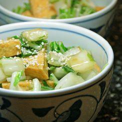 Tofu & Baby Bok Choy in Sesame-Ginger Sauce