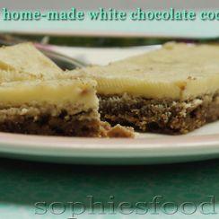 Home-made vegan white chocolate coconut bars