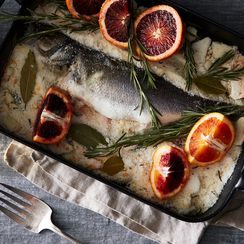 Salt Crusted Whole Fish with Blood Oranges