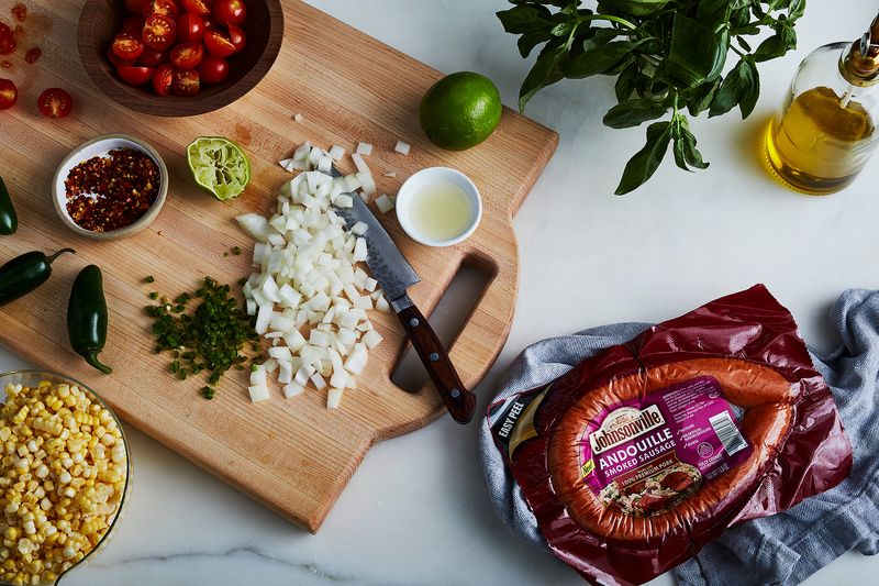 Cheater-style maque choux makes weeknights feel like weekends.