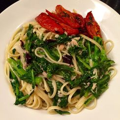 Quick Pasta with Slow Roasted Tomatoes, Broccoli Rabe, Tuna and Olives