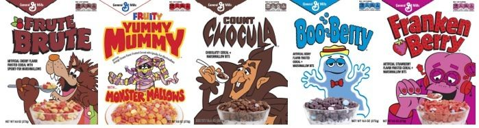 All five of the Monster Cereals.
