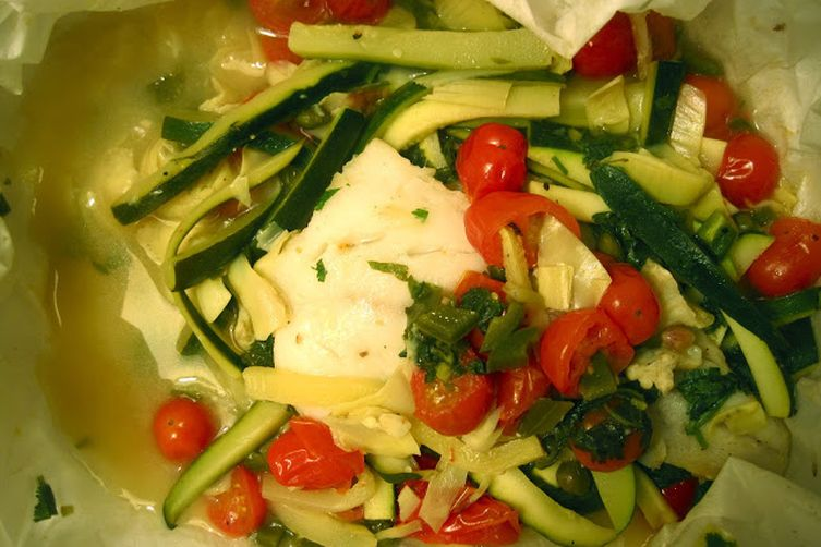 Cod and Spring Vegetables en Papillote
