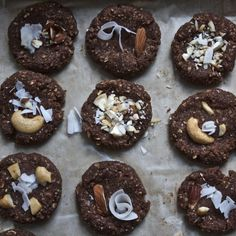 Raw Oatmeal Coconut Chocolate Nut Cookies