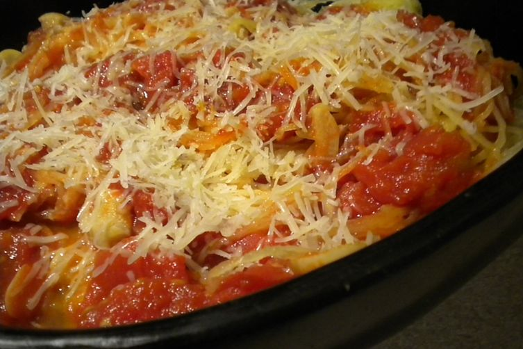 Spaghetti Squash with Tomatoes, Garlic, Anchovies and Cheese